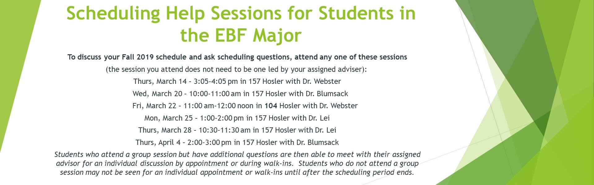 EBF Scheduling Calendar