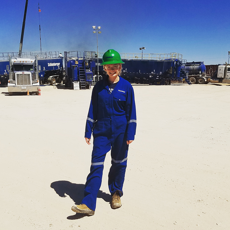 Student at well site